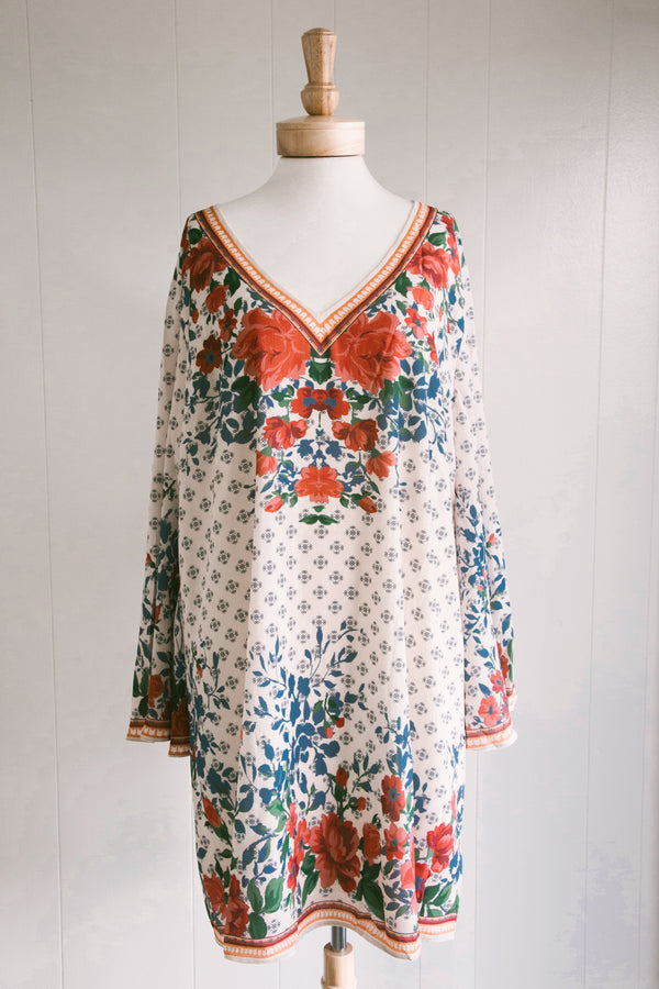 Floral Shift Dress, Ivory Rose | Plus Size