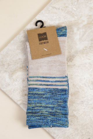 Three Stripe Heather Sock, Blue