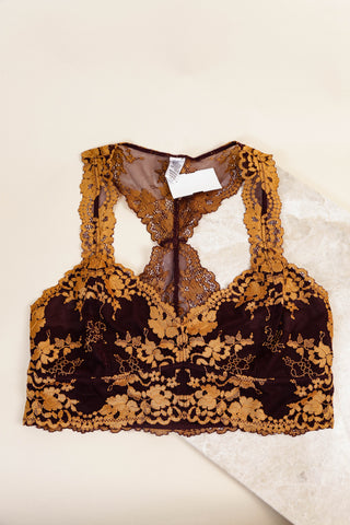 Two-Toned Bralette, Wine/Mustard
