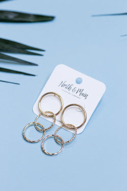 Linked Circles Earrings, Gold