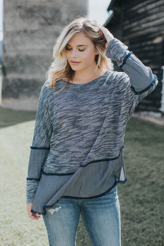 Jess Heathered Knit Top, Navy