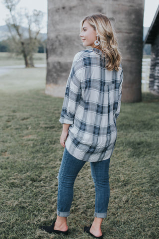 Plaid Top, Grey/Blue
