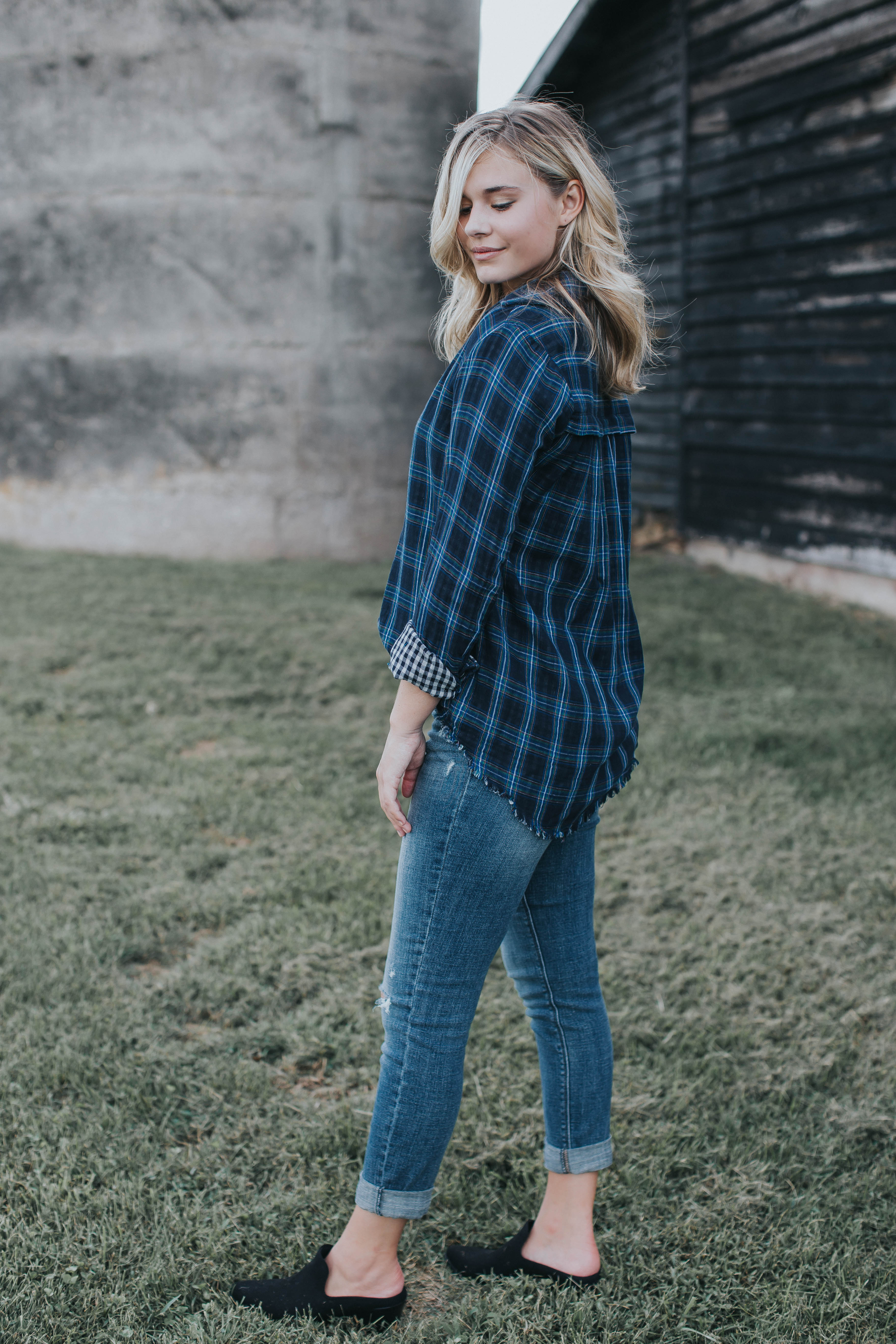 Gatsby Plaid Button Down Top, Navy