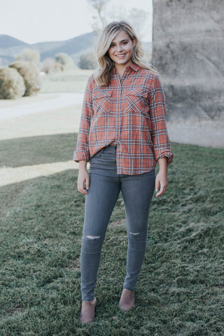 Fireside Flannel Top, Rust