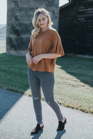 Dawn Ruffle Top, Caramel