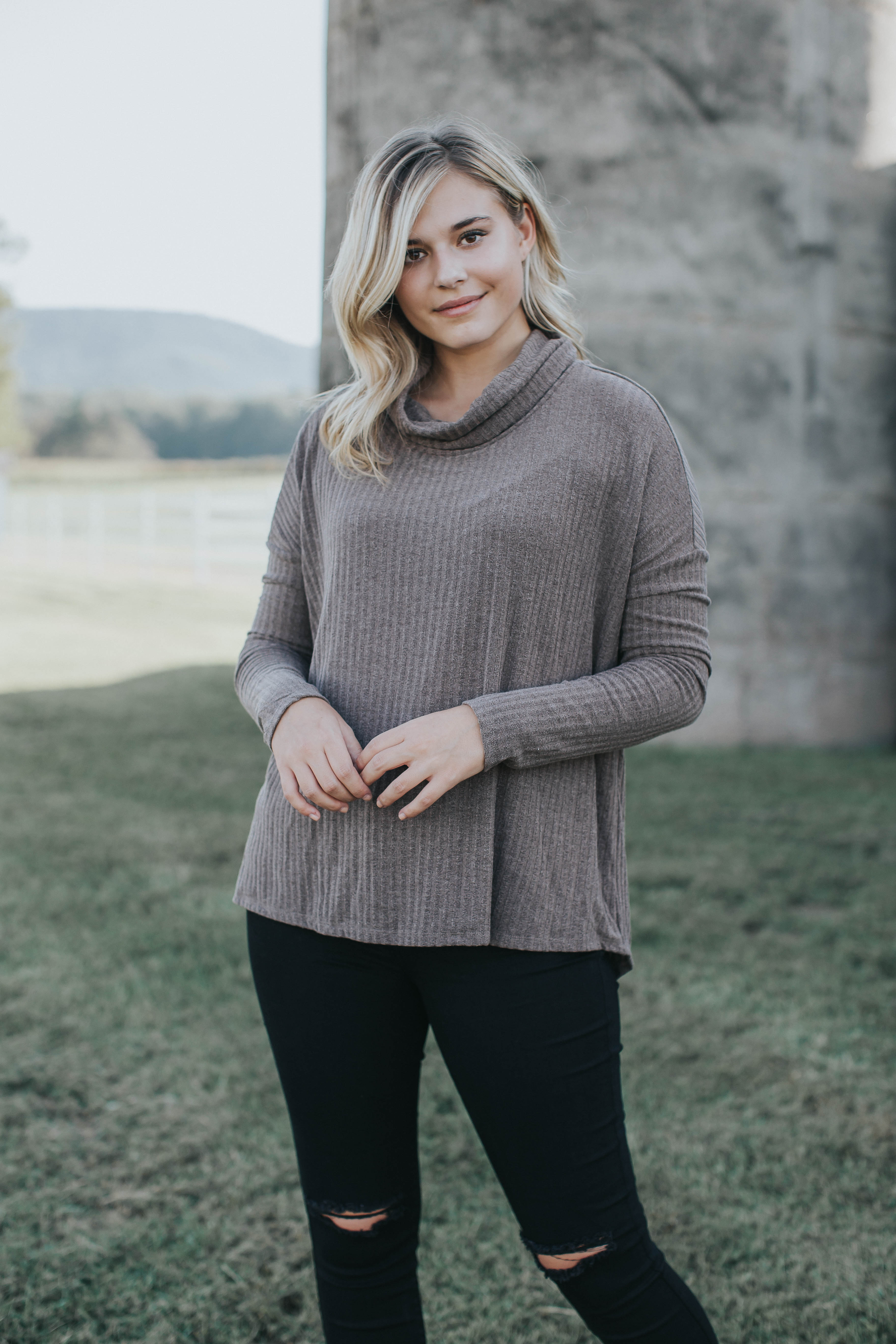 Izzy Cowl Neck Top, Mocha