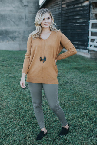 Delta Long Sleeve Sweater, Mustard