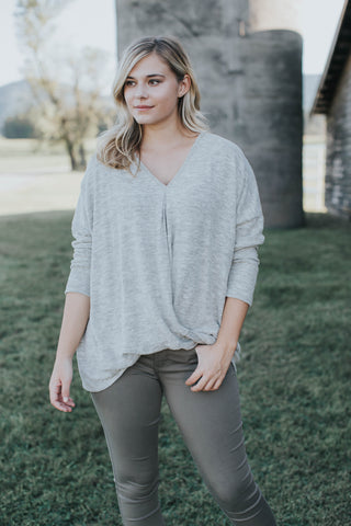 Heathered Knit Top, Stone