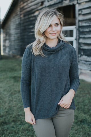 Izzy Cowl Neck Top, Charcoal