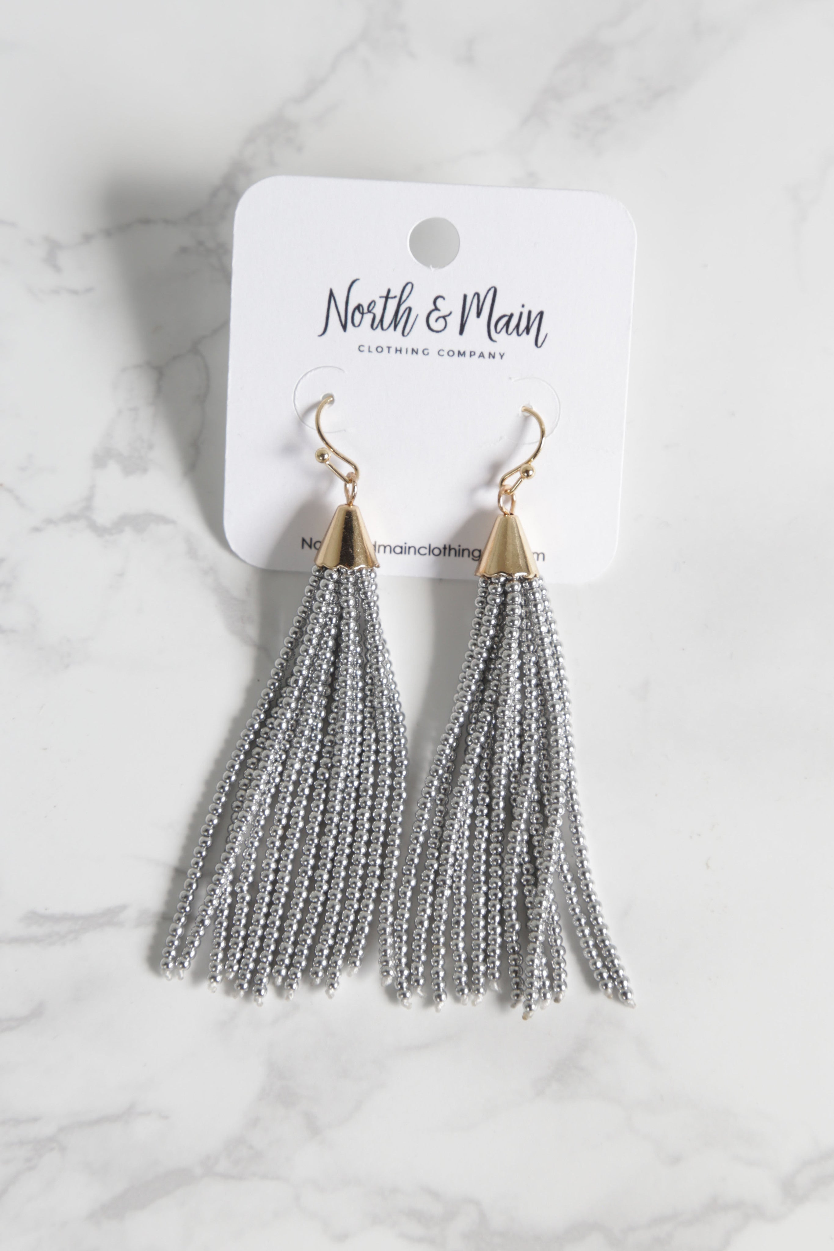 Beaded Tassel Earrings, Silver