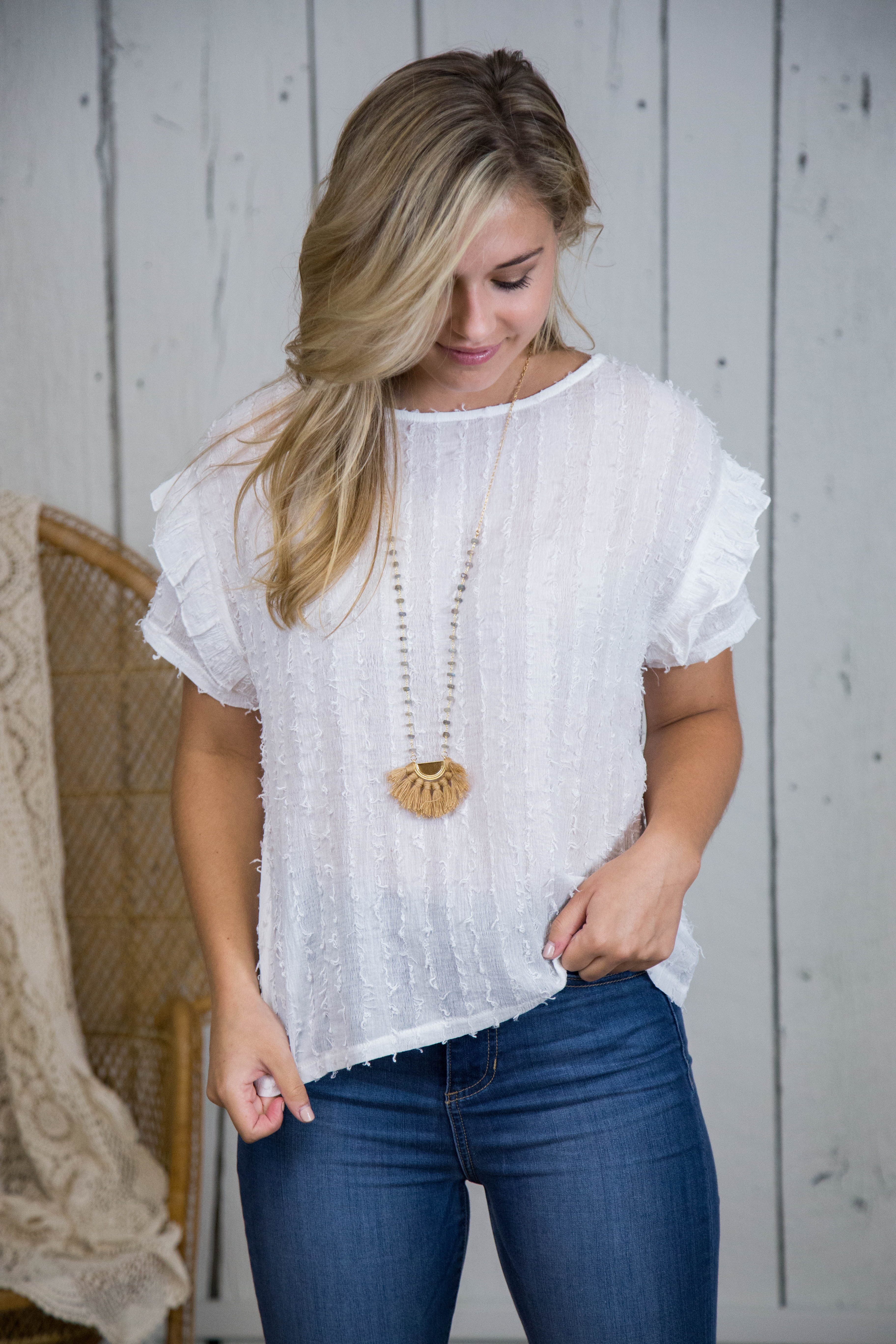 Detailed Ruffle Sleeve Top, Off White