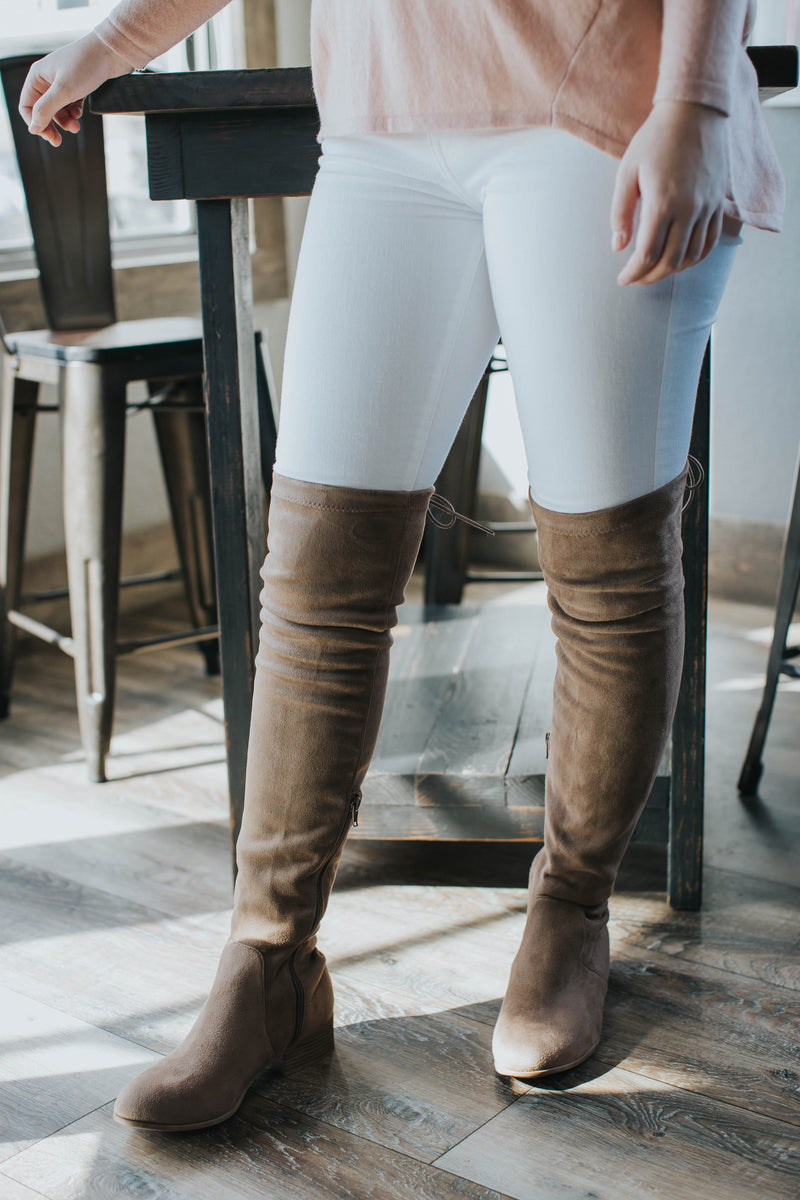 Arthur Over the Knee Lace Up Boot, Taupe