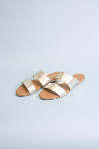 Deana Double Strap Flats, Gold
