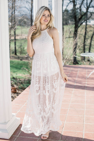 Tellico Lace Maxi Romper Dress, White