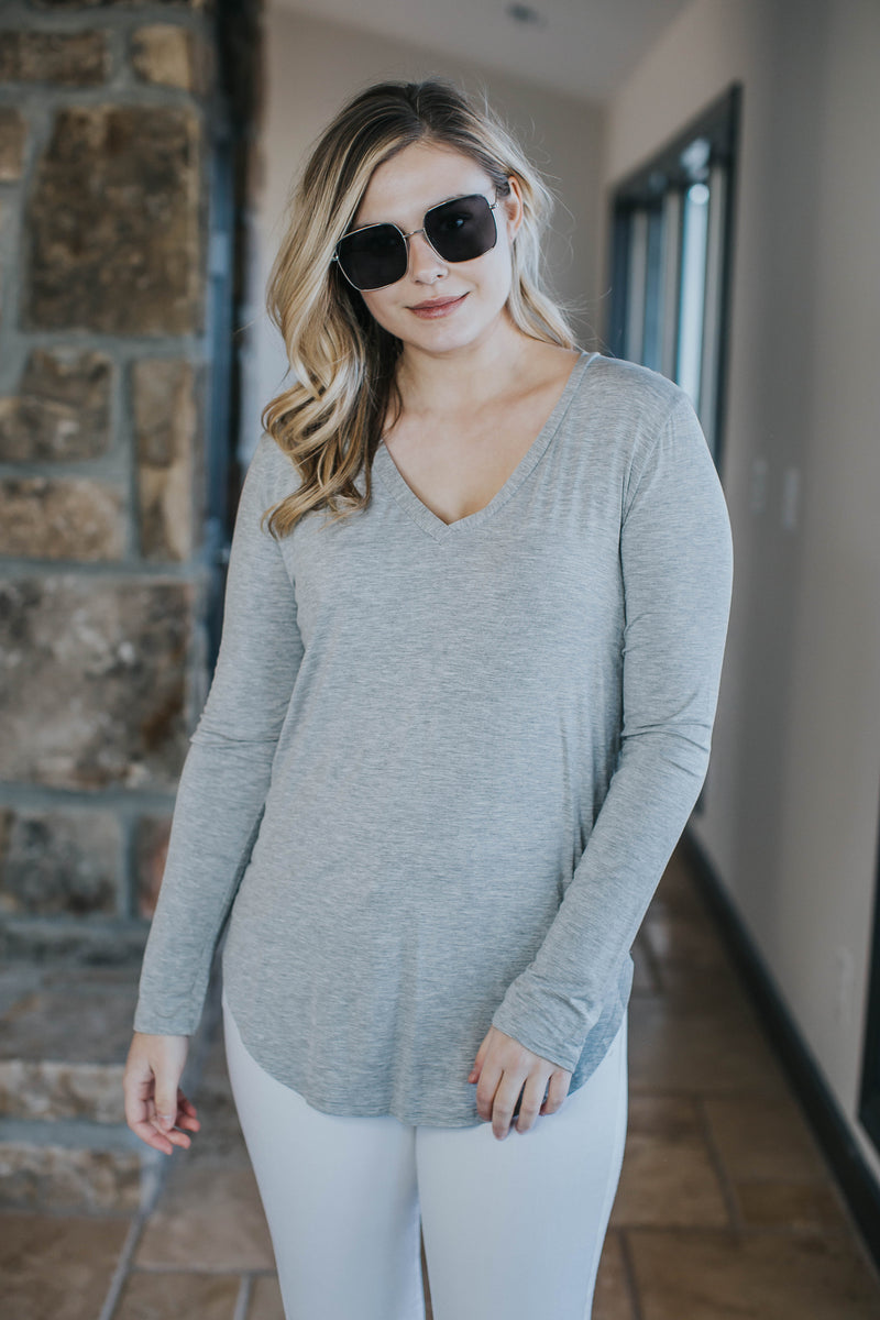 Basic V-Neck Tee, Heather Grey