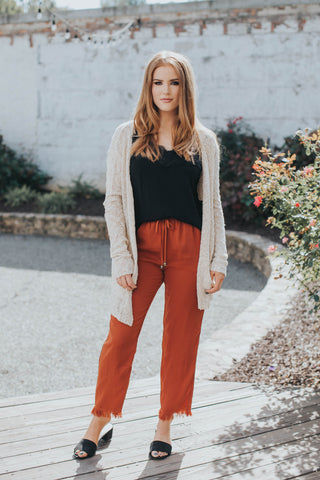 Fray Hem Pull On Pant, Rust