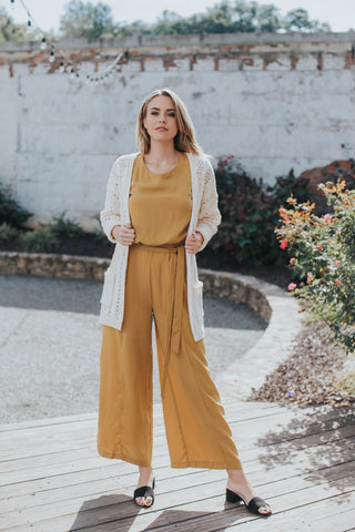 Lana Sleeveless Jumpsuit, Mustard
