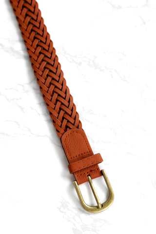 Leon Braided Belt, Brown