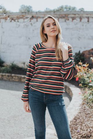 Multi Color Striped Waffle Tee, Orange Multi