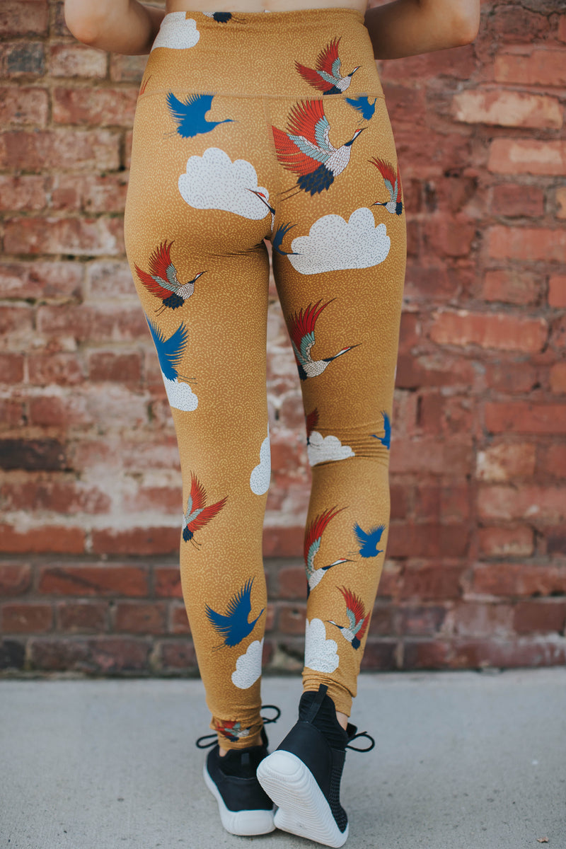 Crane Printed Leggings, Mustard