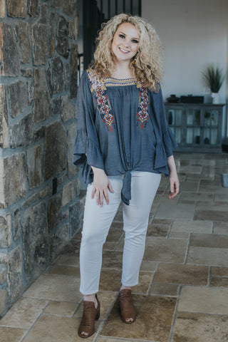 Aruba Embroidered Top, Denim Blue
