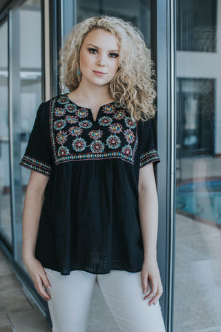 Ibiza Embroidered Top, Black