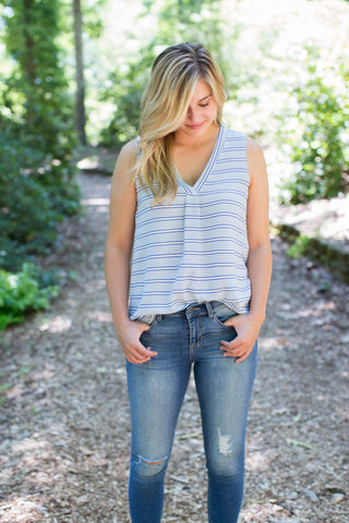 Monaco Striped Tank, Blue