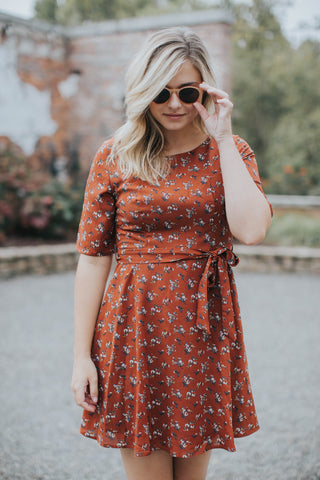 Boardwalk Floral Dress, Rust