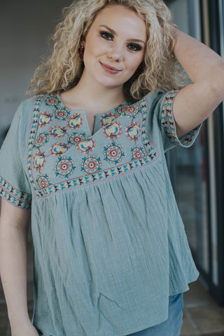 Ibiza Embroidered Top, Seafoam | Women's Plus Size Tops