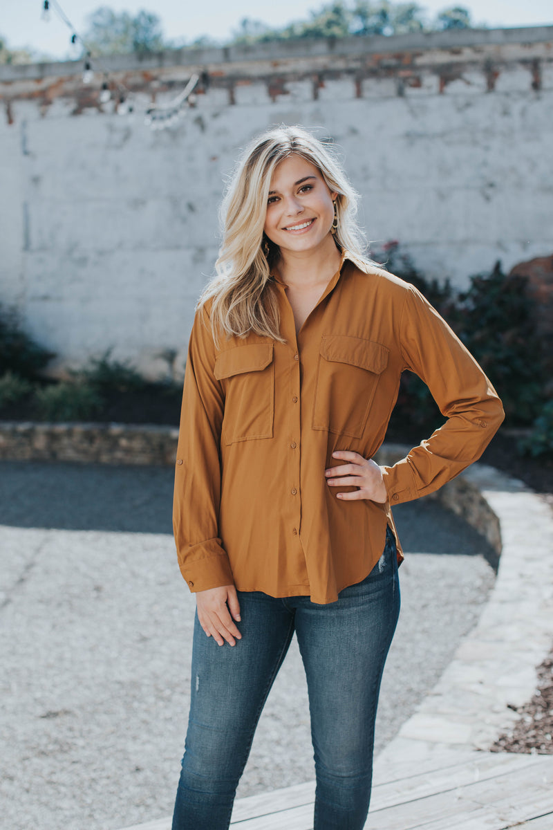 Gayle Button Up Top, Bronze