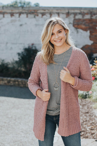 Sierra Striped Cardigan, Grey