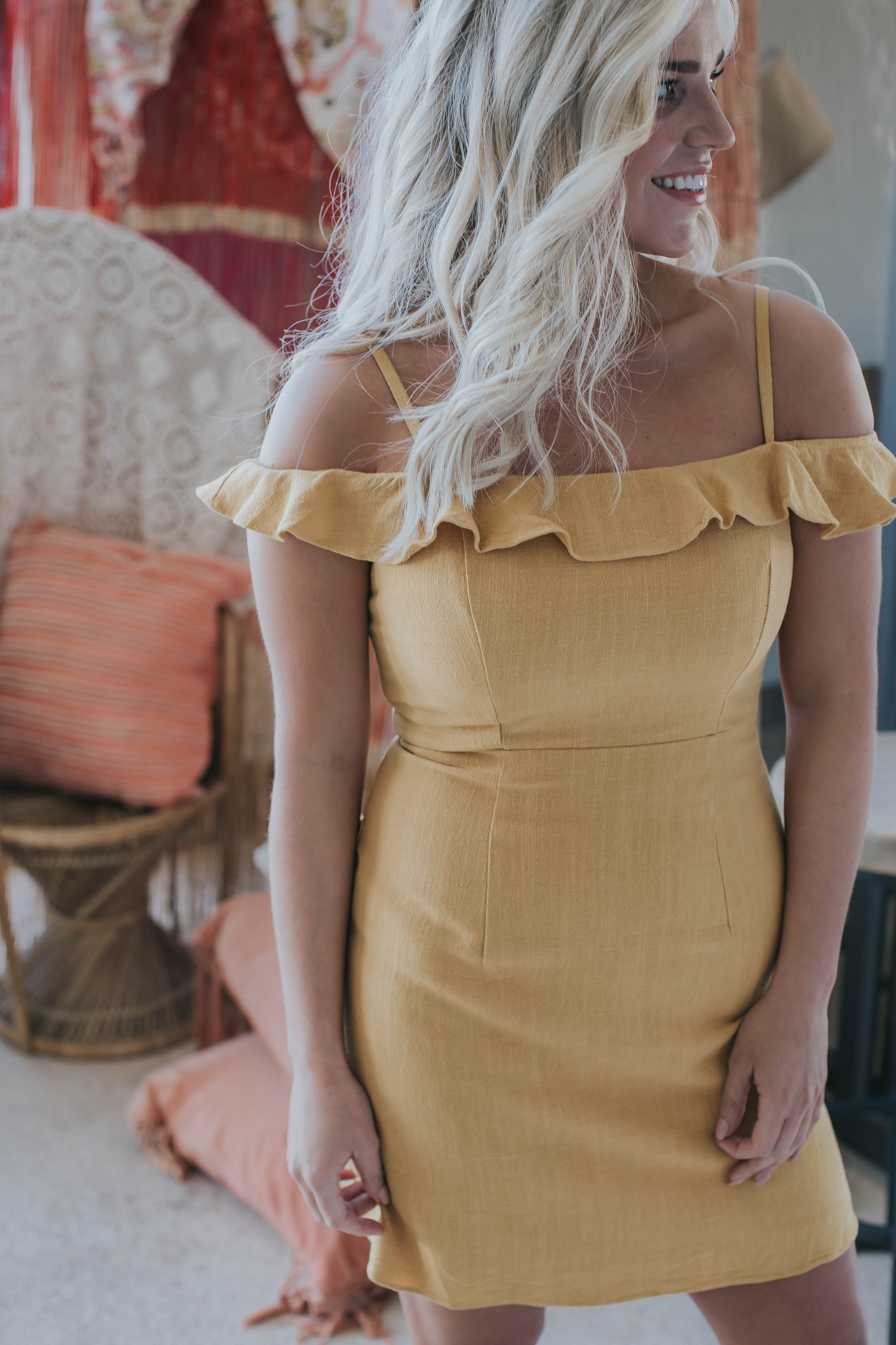 Azalea Linen Dress, Goldenrod