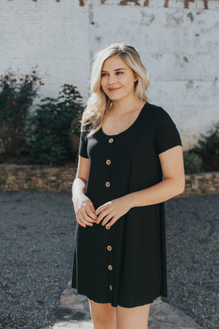 Button Front Knit Dress, Black | Women's Dresses