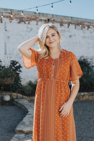 Printed Maxi Dress, Rust