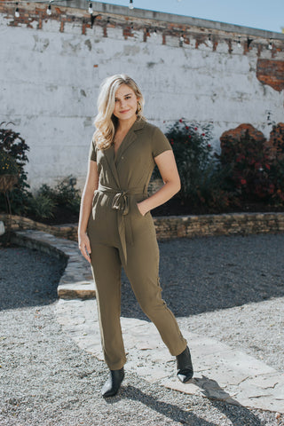 Charlee Solid Jumpsuit, Olive | Women's Fashion Clothes