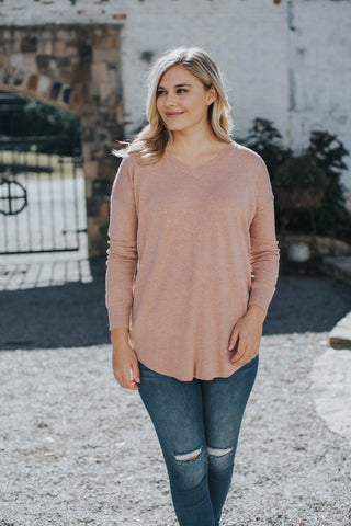 V-neck Pullover Tunic Sweater, Terracotta