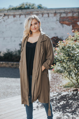 Volly Trench Coat, Olive