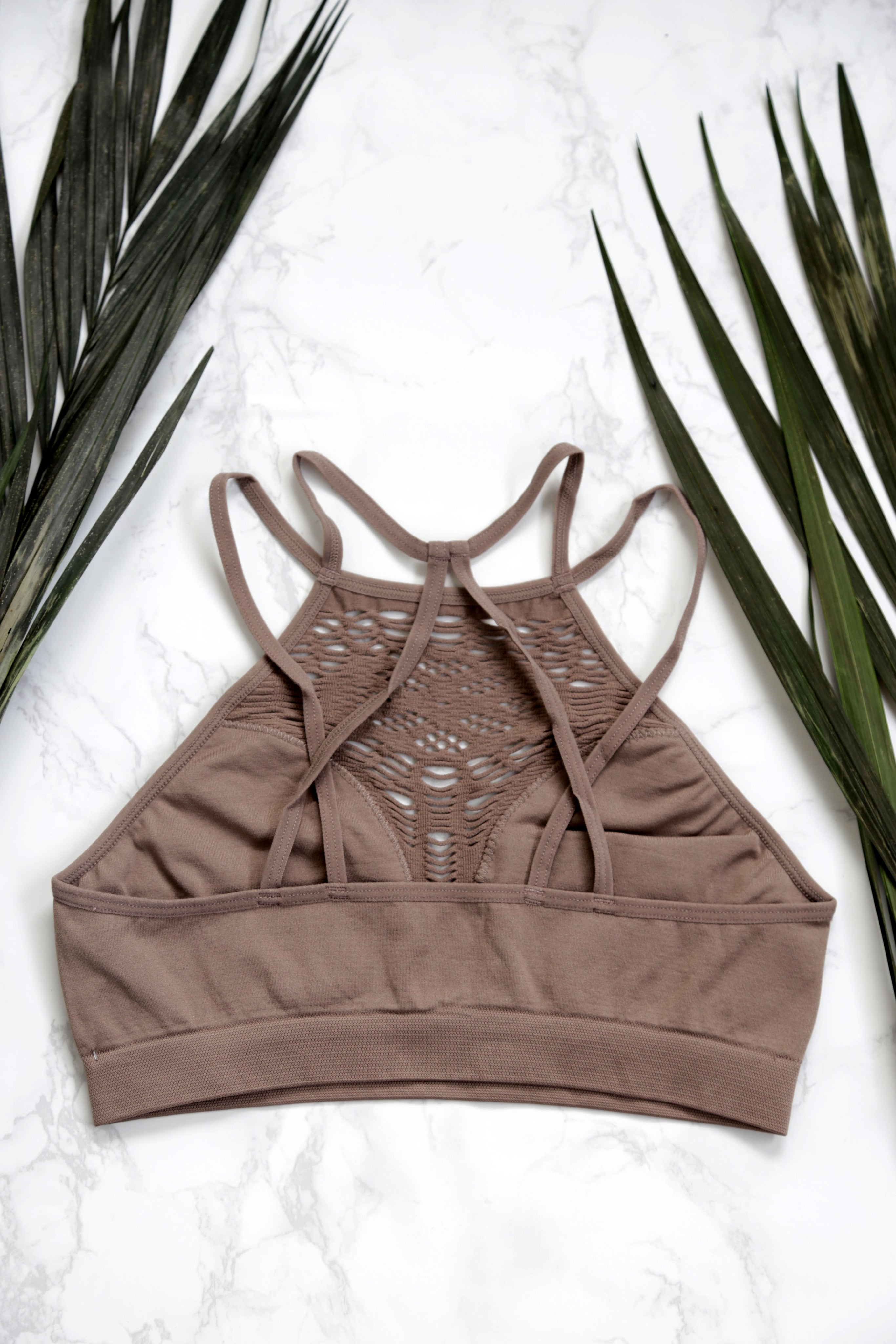 Seamless High Neck Bralette, Mocha