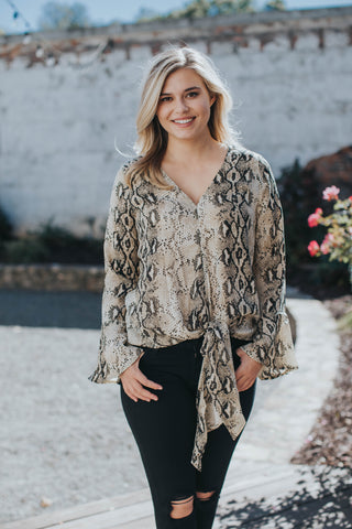 Knot Snake Blouse, Taupe