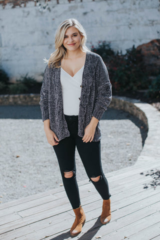Chenille Button Front Cardigan, Charcoal