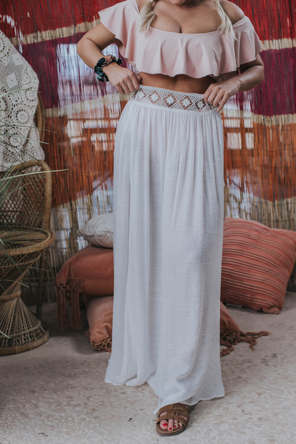 Cover Up Lace Trim Sarong Skirt, Off White