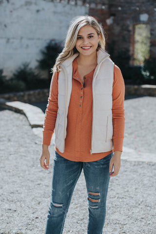 Maggie Button Down Henley, Copper