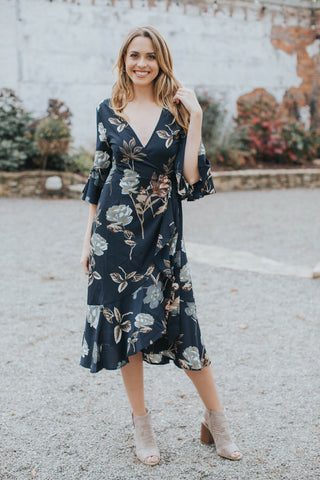 Lilie Floral Dress, Black