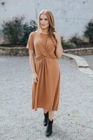 Modal Twist Front Dress, Caramel