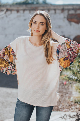 Kelly Printed Sleeve Sweater Top, Natural