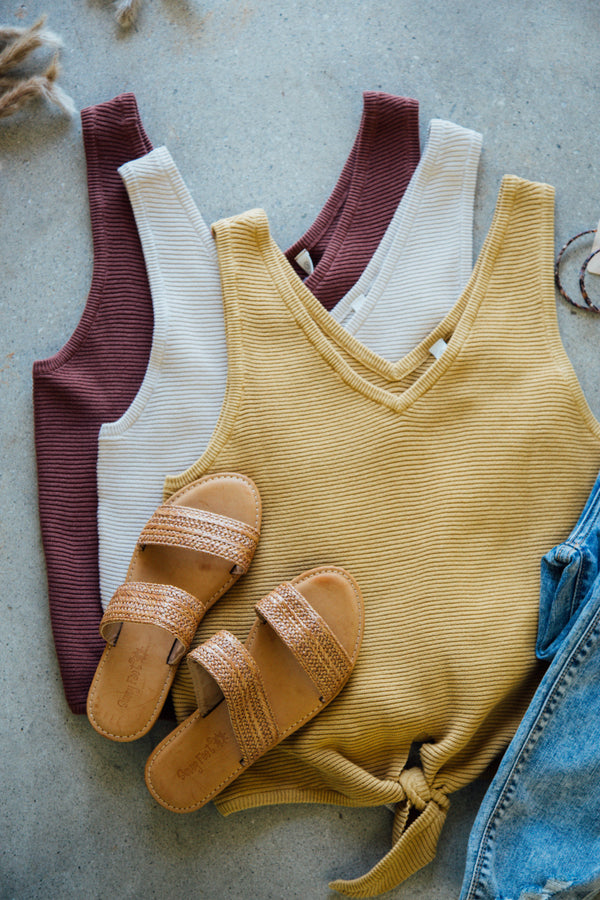 Knit Tie Front Cotton Top, Mustard