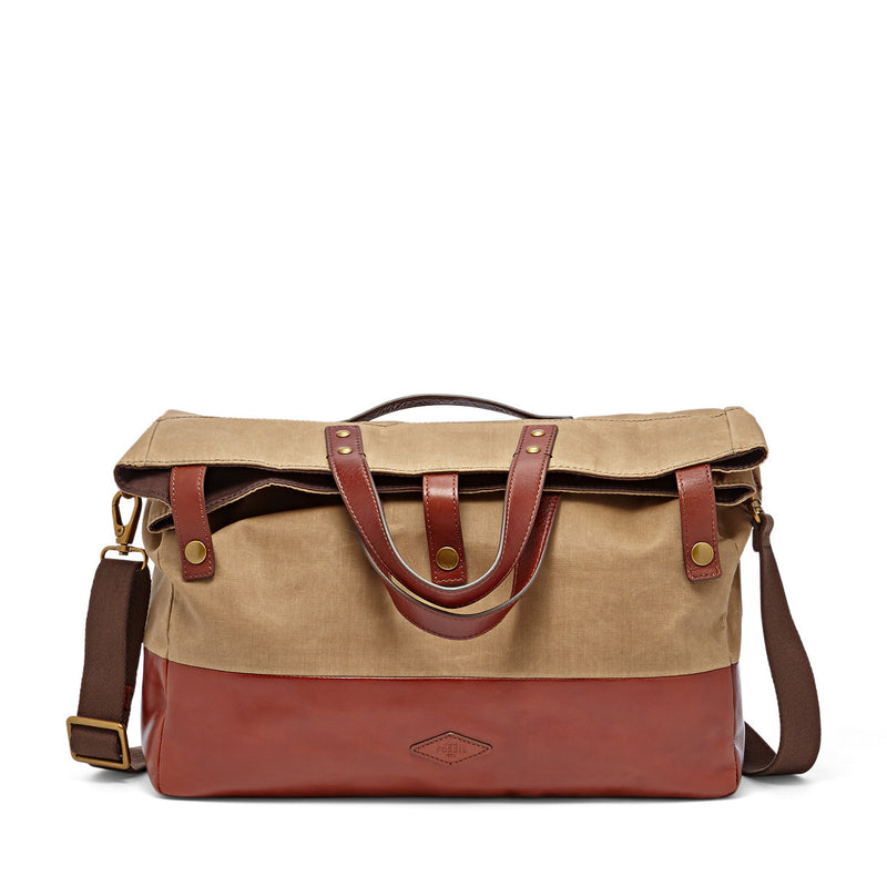Gordon Foldover Tote Khaki For Men by Fossil