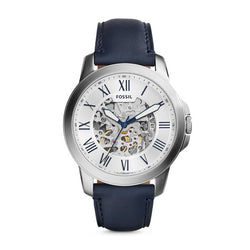 Grant Automatic Leather Watch, Navy & White by Fossil