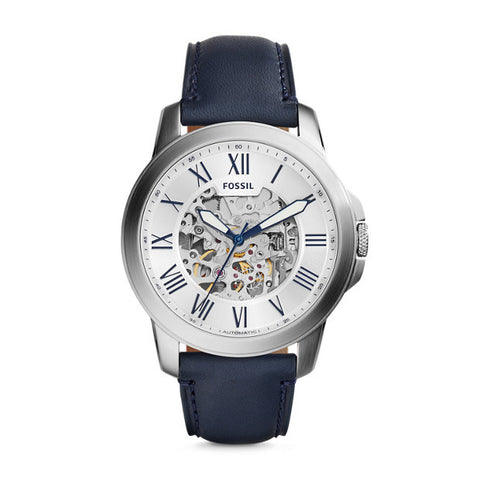Grant Automatic Leather Watch, Navy & White - The Loft Boutique - Accessory  - 1