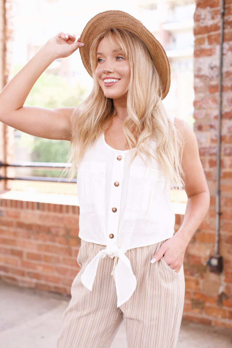 Button Front Cotton Tank, Ivory